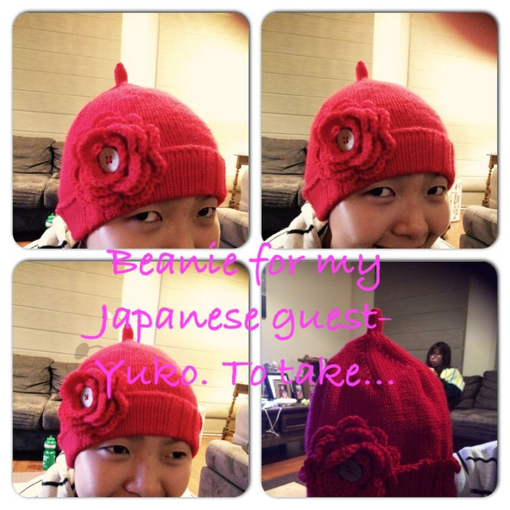 Knitted a beanie for my Japanese guest, Yuko!