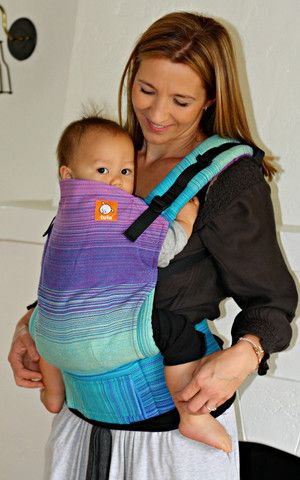 (Standard Size) Half Wrap Conversion Tula Baby Carrier - Meeyoo Lou Lou (Turquoise Weft)