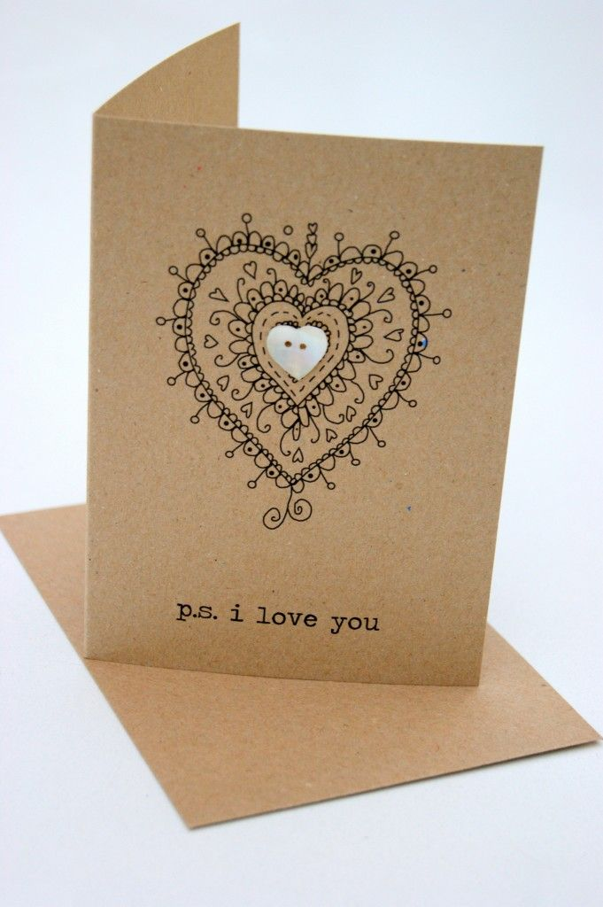 handmade Valentine/love card ... kraft ... single layer ... doodle heart with heart button ...