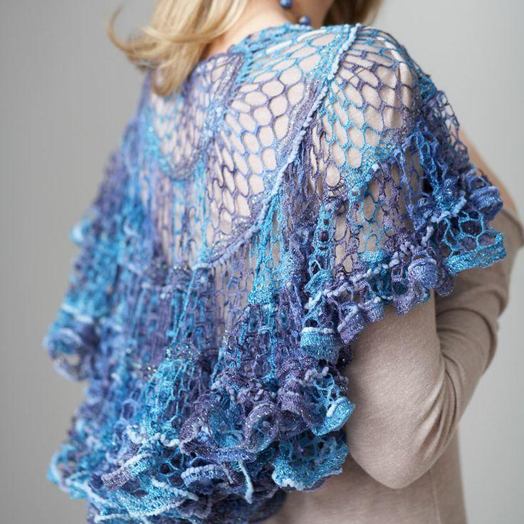 Patons® Pirouette™ Crochet Shawl  #crochet #pattern