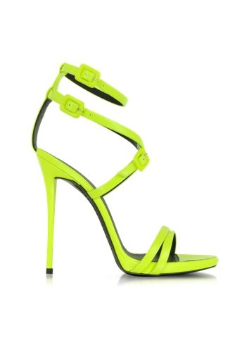 Giuseppe Zanotti Neon Yellow Leather Ankle Strap Sandal