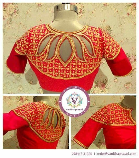 Love this lotus cutout in the back of the blouse | orange-red blouse with gold work and half sleeves | Bridal Outfit Ideas | Blouse Design | Indian Wedding Ideas | Credits: vanitha prasad | Every Indian bride's Fav. Wedding E-magazine to read. Here for any marriage advice you need | www.wittyvows.com shares things no one tells brides, covers real weddings, ideas, inspirations, design trends and the right vendors, candid photographers etc.