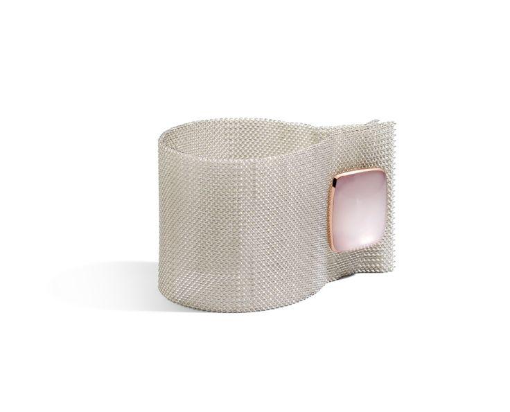 Bracciale argento e polsino quarzo milky e oro rosa queriot bracelet pink silver  jewellery gioiello fashion luxury maglia milanese gold