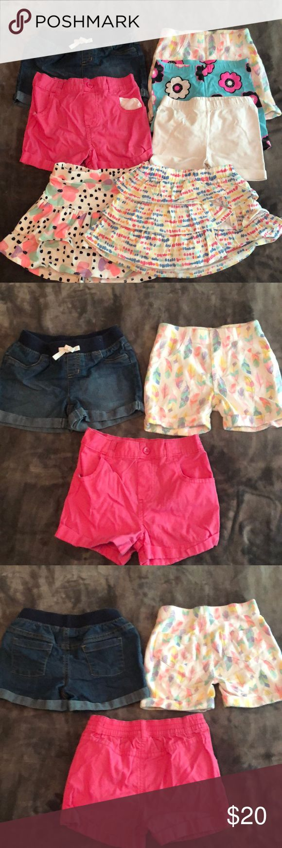 Girls summer lot 5 pairs of shorts 1 blue jean jumping beans size 4t elastic wai...