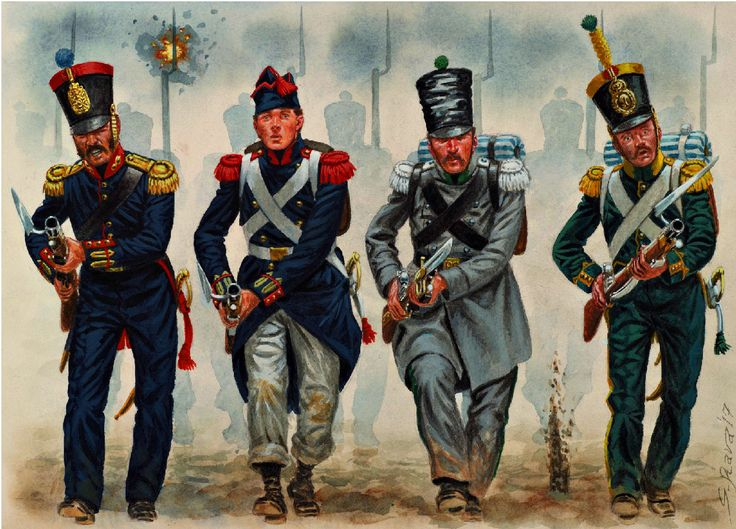 Spanish Liberal infantry from left to right, a Sergeant of the Naval Infantry (1834), a Grenadier of the Line Regiment 'Rey' (1835), a Sergeant of the Cazadores Regiment (1836), and a Cazador of the 'Cazadores del Rey' regiment (1833)-by G Rava