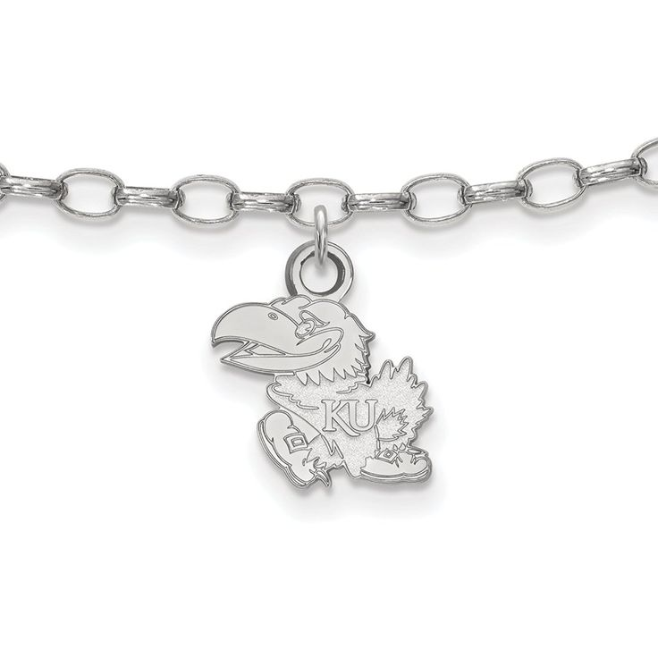 925 Sterling Silver Rhodium-plated Laser-cut University of Kansas Anklet 9' * Want to know more, click on the image. (This is an Amazon Affiliate link and I receive a commission for the sales)
