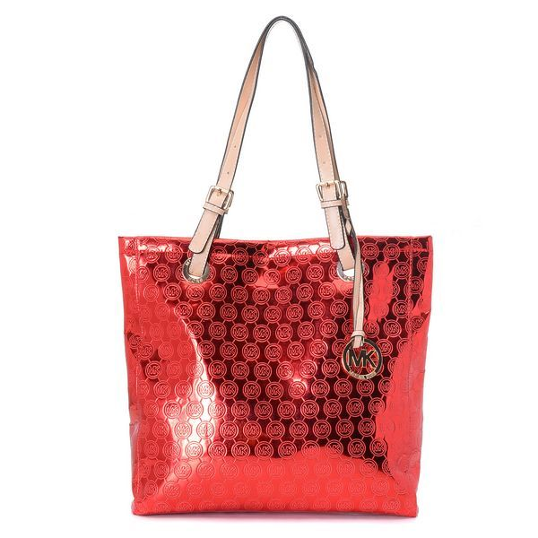da45a570d8313 ... Michael Kors Monogram Mirror Metallic North South Tote Red Products  Description Red monogram-embossed ...