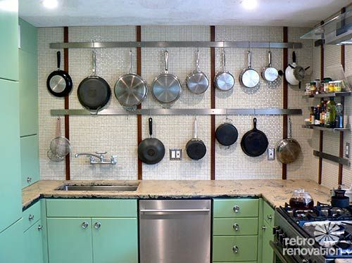 Doug's retro modern kitchen and bathroom — stunning effects using inexpensive mosaic porcelain tile from Home Depot (actually more interested in that cabinet finish)