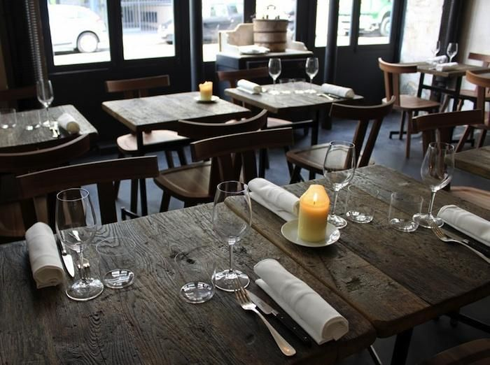 Love the touch of reclaimed wood. Give the forest a break. Give a second life to them - Industrial Chic in Paris: Septime Restaurant by Julie Carlson