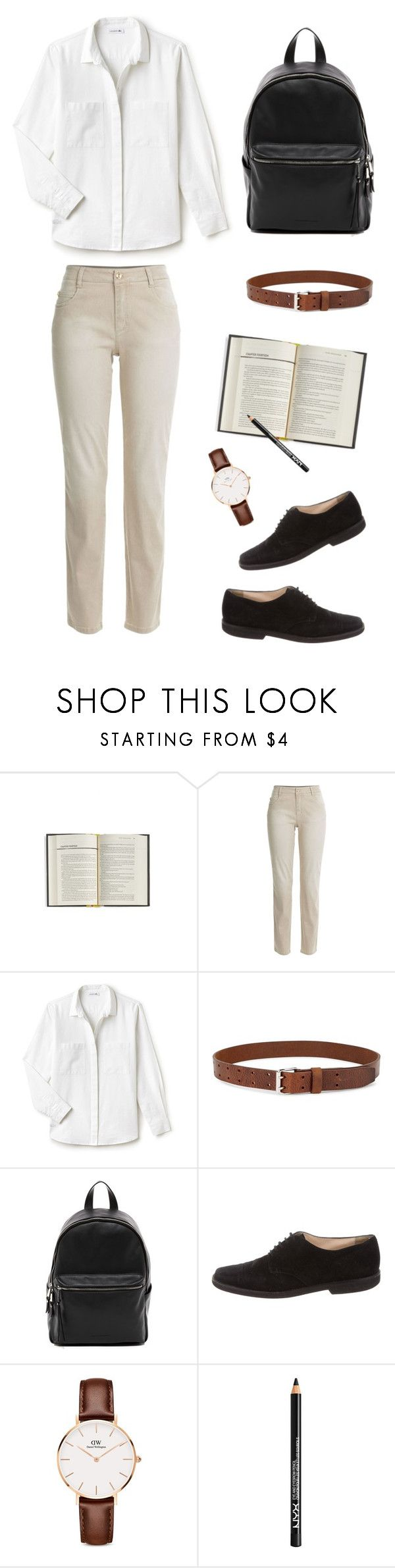 """""""1st day in school"""" by rad-lifestyle ❤ liked on Polyvore featuring E. Lawrence, Ltd., Ermanno Scervino, Lacoste, Étoile Isabel Marant, French Connection, Manolo Blahnik, Daniel Wellington and NYX"""