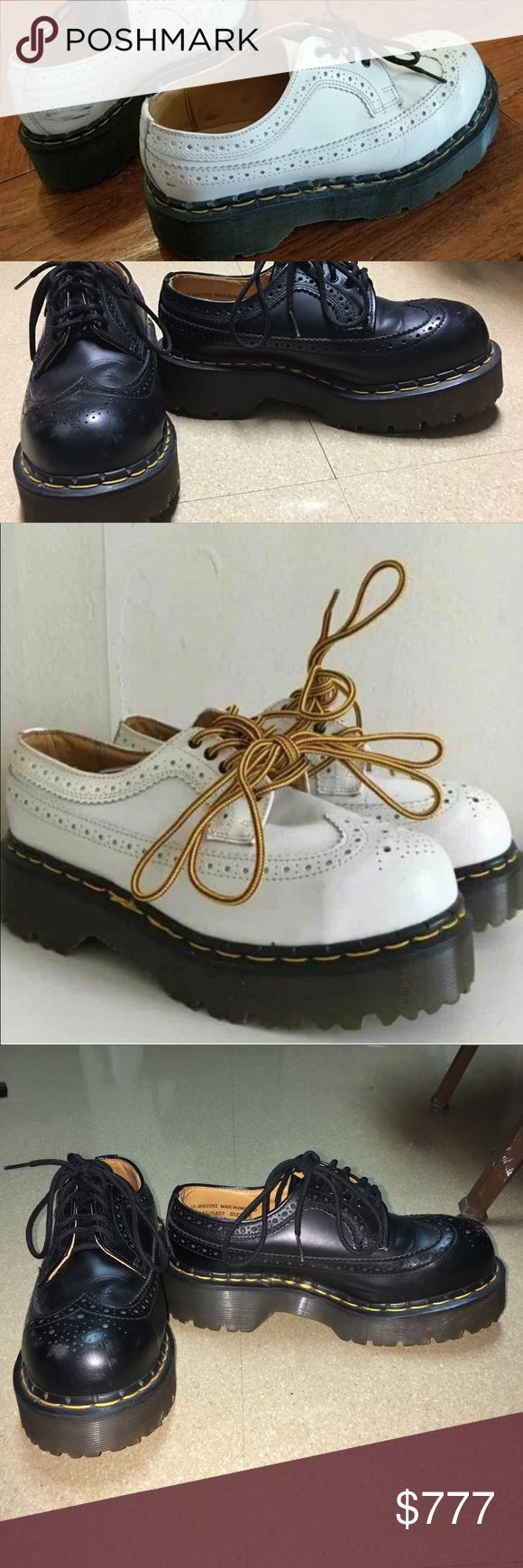 Major ISO platform Steel Toe Doc Martens I owned a white pair but a bunch of my stuff got stollen recently including those. Bought two different black pair that were either too small or big.  In need of a women's US size 7.  Platform and steel toe- black or white, or another similar style Dr. Martens Shoes Platforms