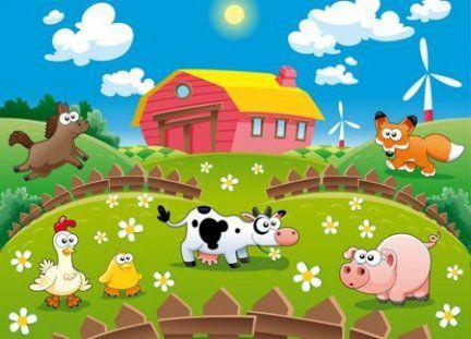 Tapeta ścienna dla dzieci - Farma i zwierzaki 254x183 cm - Sklep DecoArt24.pl