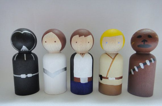 Fight the Dark Side (or embrace it) with this set of Star Wars themed peg dolls. Great for every Star Wars fan, regardless of his or her age.