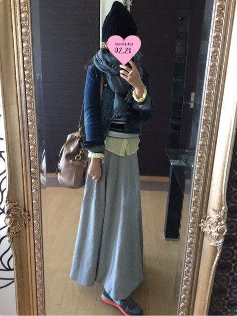 マキシスカート&Gジャンの休日コーデ♡♡ の画像|アラフォー女子 毎日のコーデブログ