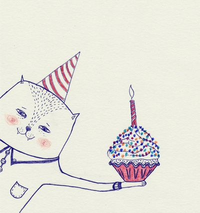 happy birthday cat Art Print: Kitty Birthday, Beloved Friends, Birthday Illustrations, Birthday Cards, This Artists, Cat Art Prints, Happy Birthday Cat, Artists Create, Cat Cakes