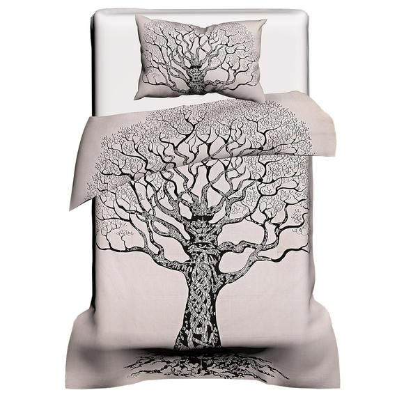 Exclusive Tree Of Life Duvet Cover White Twin Dona Cover Etsy In 2021 Handmade Duvet Covers White Duvet Covers Duvet Covers