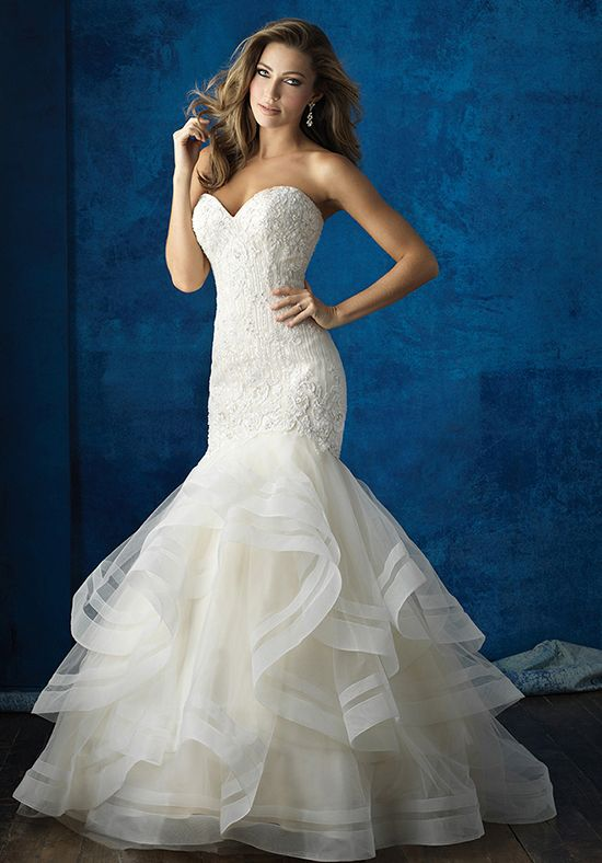 This strapless, ruffled gown is a glamorous choice year-round.
