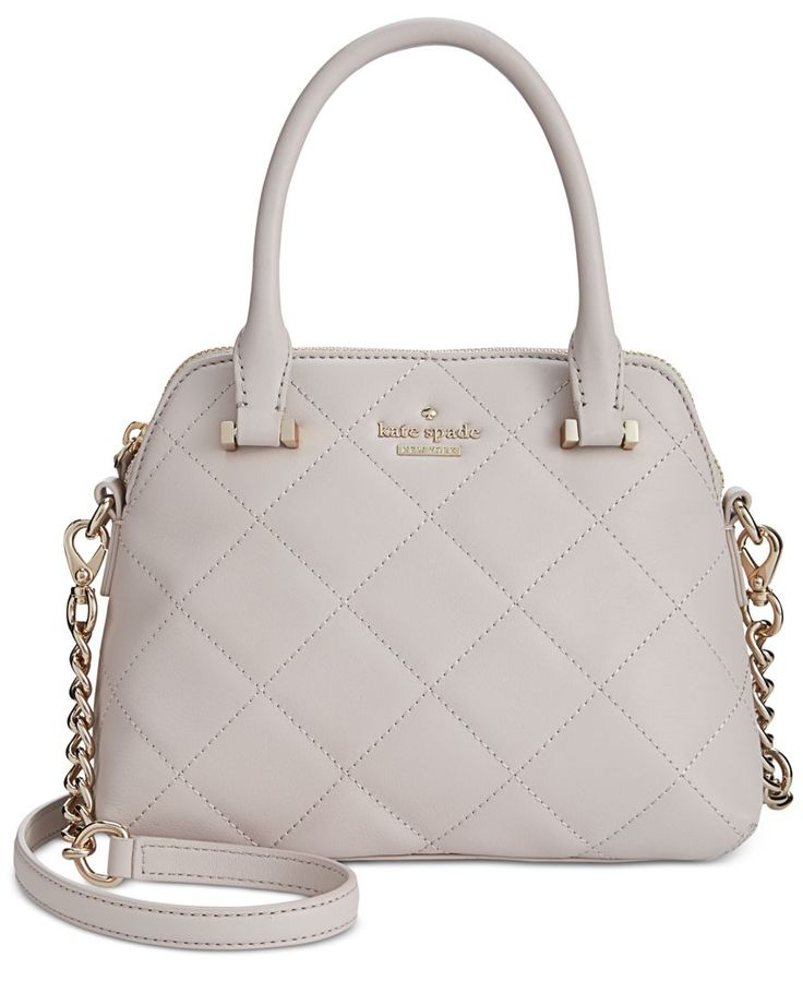 Precisely stitched quilting highlights the elegant, ladylike lines of kate spade new york's ever-popular Small Maise satchel. Designed in soft nappa leather, it features a hands-free crossbody strap f