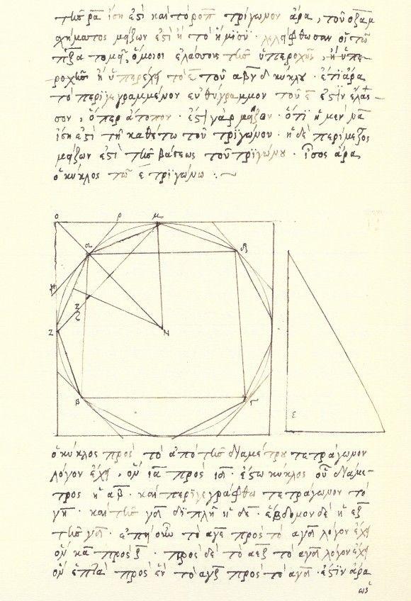 """Página de la edición facsímil de """"Medida del círculo"""" que contiene el primer resultado: """"todo círculo es igual a un triángulo rectángulo cuyo radio es igual a uno de los lados que forman en ángulo recto y el perímetro es igual a la base"""", que viene a ser en la formulación moderna la fórmula del área del círculo, A=\pi r^2 ."""