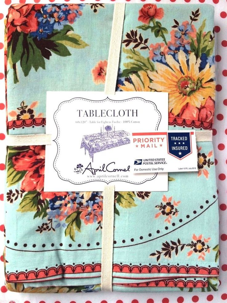 APRIL CORNELL TABLECLOTH FLORAL Aqua Orange Green Yellow Blue 60 x 120 NEW #AprilCornell
