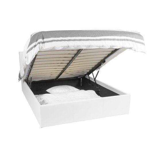 Ottoman Bed Frame | Wit | 160x200 | 800L opberg ruimte | Afneembaar hoofdbord