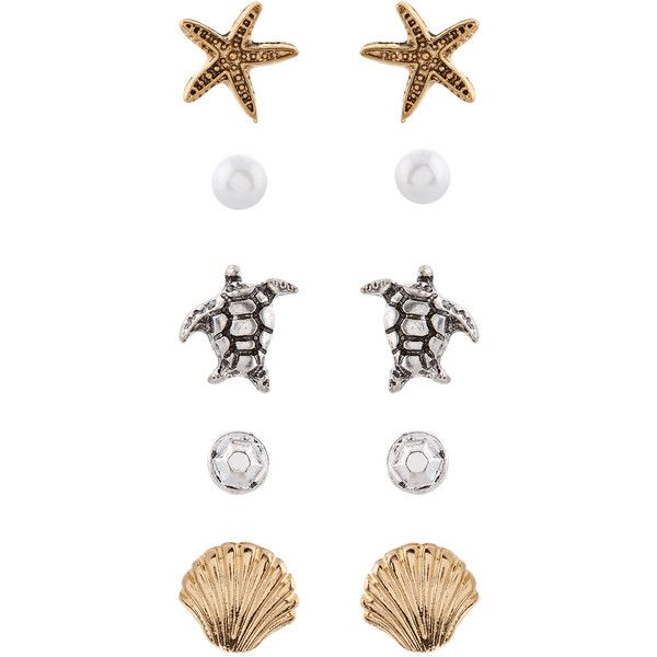Accessorize 5 X Beach Stud Earrings Set ($10) ❤ liked on Polyvore featuring jewelry, earrings, seashell jewelry, turtle jewelry, starfish jewelry, holiday earrings and beach jewelry