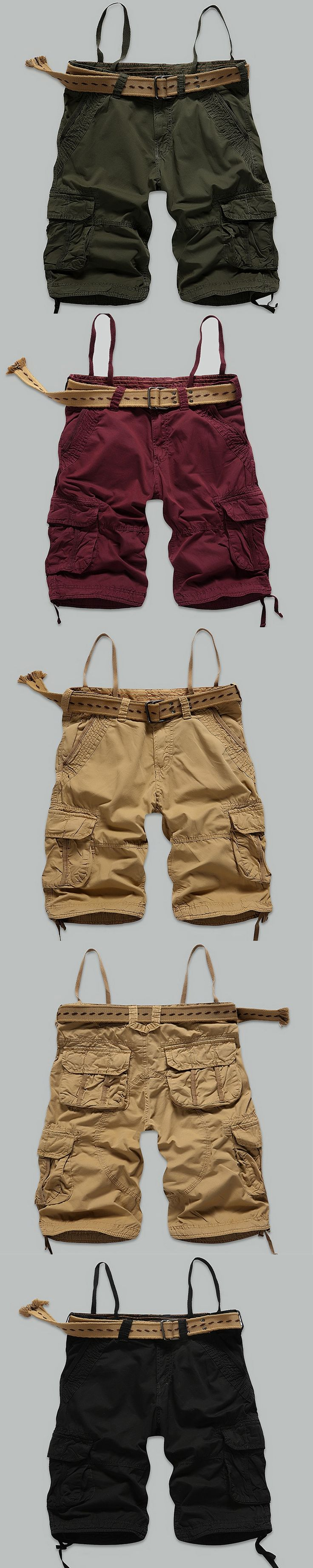 2017 Hot sale cargo shorts men 100% Cotton Fashion Casual camouflage Summer brand male clothing Army green pocket Plus size30-38