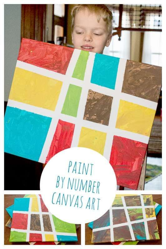 Paint by number canvas art using tape resist