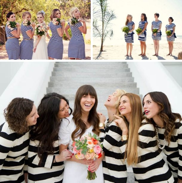 striped bridesmaids dresses | Moira West/Woolworths on SBB (top left); Greg Thompson Photography/Banana Republic via Style Me Pretty (top right); Kate Osborne Photography/J.Crew (bottom) SO CUTE!