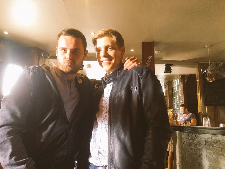 """Me and the man himself.."" - Danny Miller & Ryan Hawley - Tweeted by Danny Miller 11:55 AM - 21 Jul 2015 - filming on location at Hirst's Yard in Leeds"