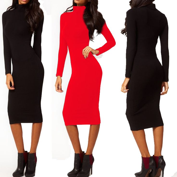 Women Dress Autumn Dark Blue Black Red Turtleneck Dress Long Sleeve Mid Calf Pencil Bodycon Party Dresses-in Dresses from Women's Clothing & Accessories on Aliexpress.com | Alibaba Group