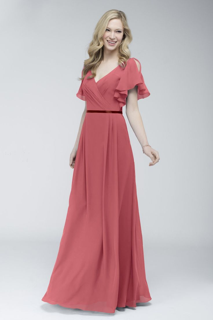 Wtoo by Watters Style 706 is a crystal chiffon, floor length bridesmaid dress. This garment features an a-line skirt with front v-neckline and fluttered cap sleeves. Double-faced satin ribbon at waist that can be chosen in multiple colors.
