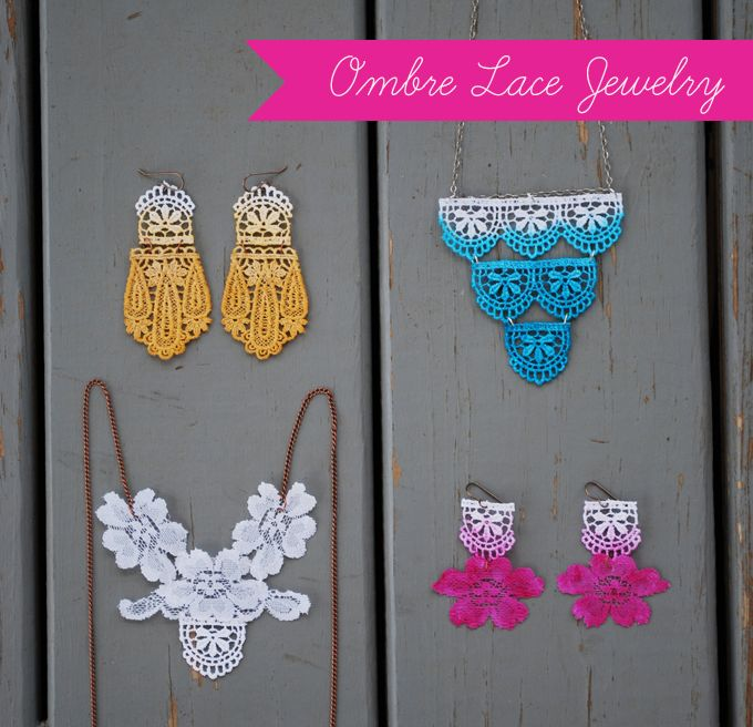 Ombre Lace DIY | Glamour and Grace: Ombrelace, Lace Jewelry, Jewelry Tutorials, Crafts Ideas, Diy Ombre, Diy Lace, Lace Jewellery, Ombre Lace, Diy Jewelry