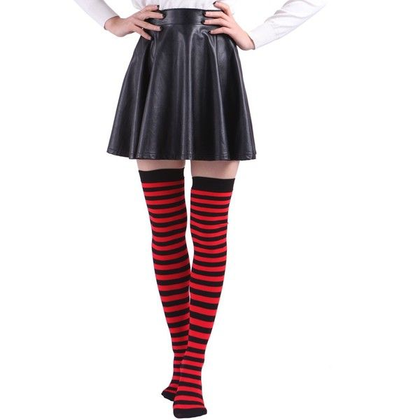 HDE Women's Plus Size Striped Stockings Thigh High Over the Knee OTK... (150 CZK) ❤ liked on Polyvore featuring intimates, hosiery, tights, plus size tights, sheer thigh high stockings, thigh-high tights, red striped tights and thigh high nylon stockings
