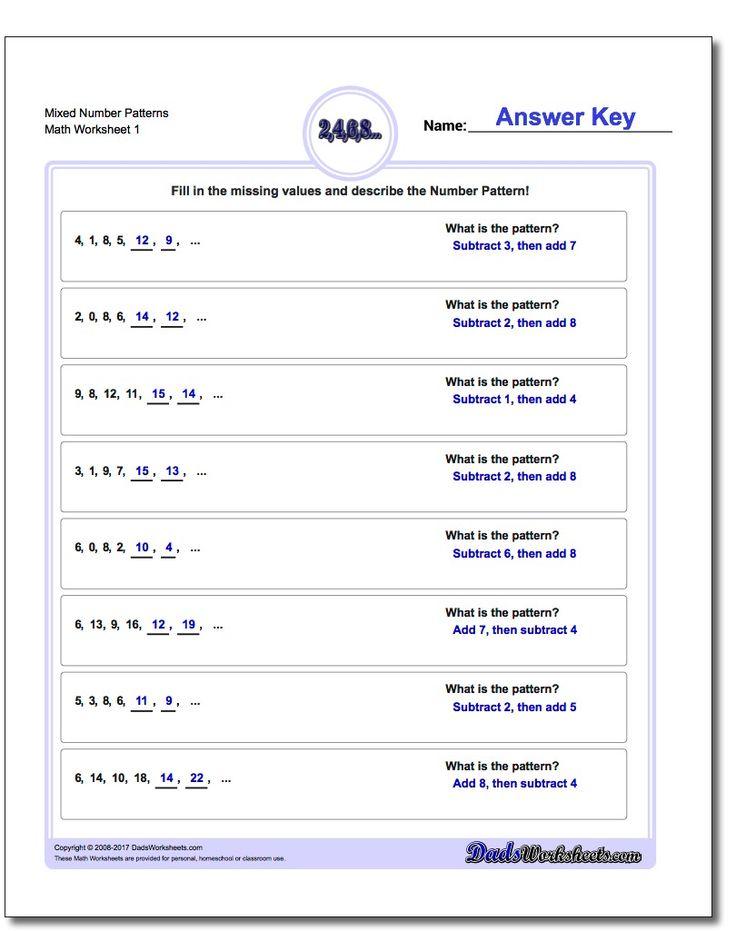 Mixed Number Patterns Worksheet #Number #Patterns #Worksheet