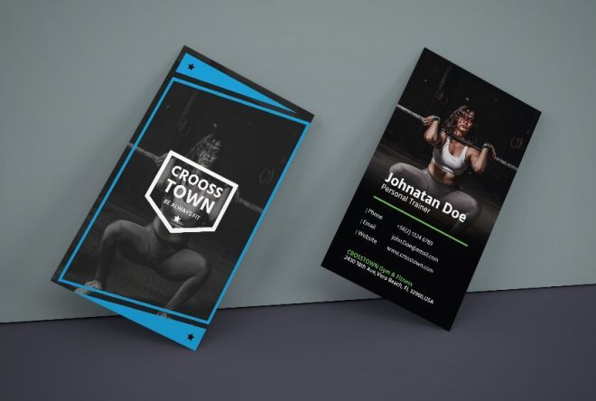 Free Creative Gym Business Card Vector Template Titanui Vector Business Card Business Cards Vector Templates Business Card Mock Up