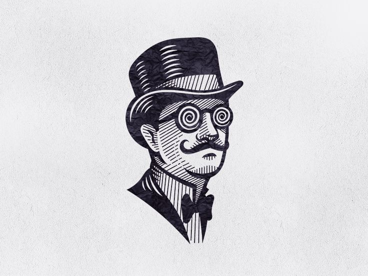 Hypnotist illustration engraving man hat