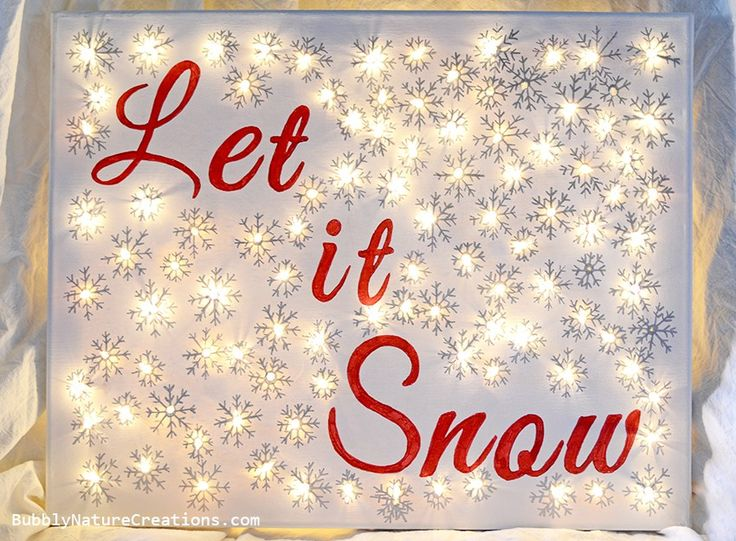 "** DIY Illuminated Canvas  Winter Greetings ""Let It Snow"" Back Lit Using Battery Operated String Lights  @SprinkleSomeFun"