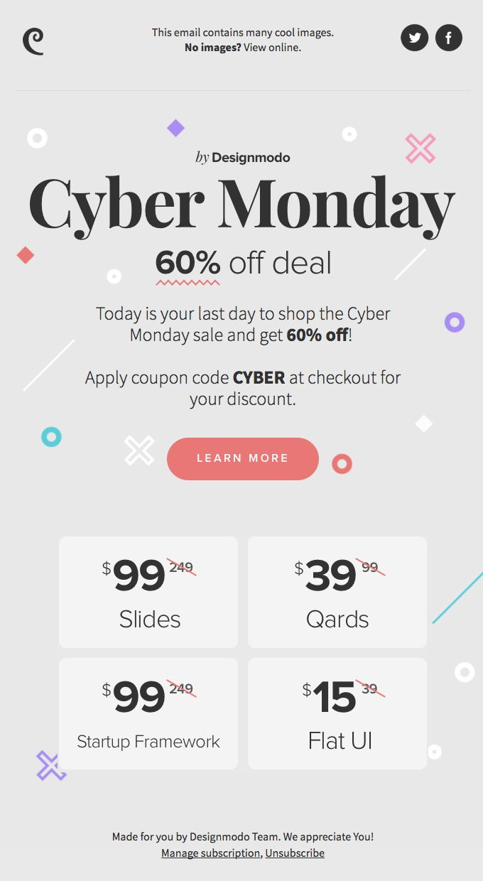 💥 Cyber Monday Sale! Last Day to Get 60% off, Everything on Designmodo! - Really Good Emails