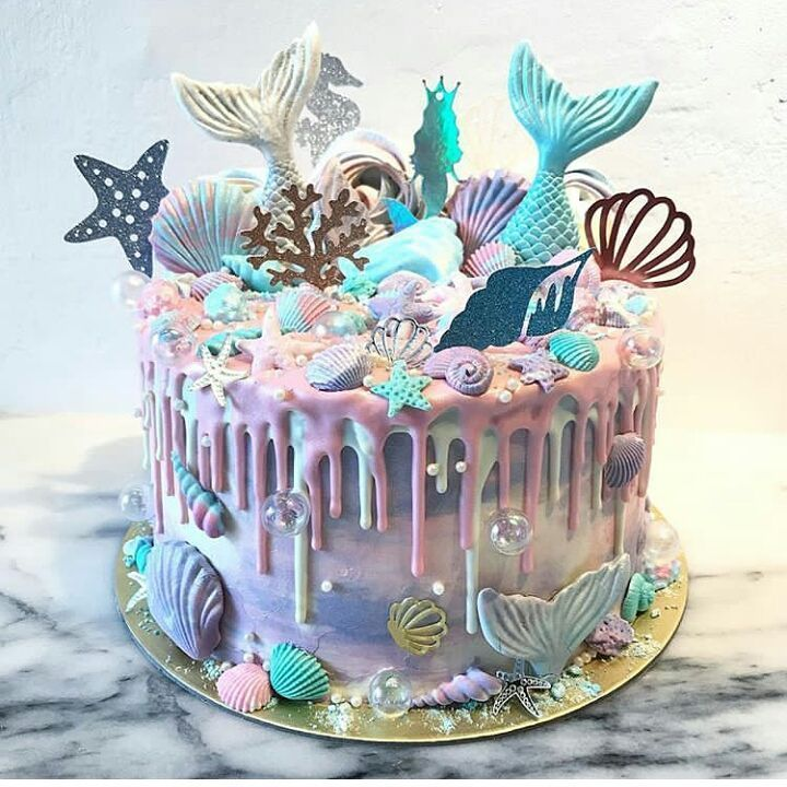 8th Birthday Mermaid Cakes Party Ideas Parties Quince Drip Unicorn