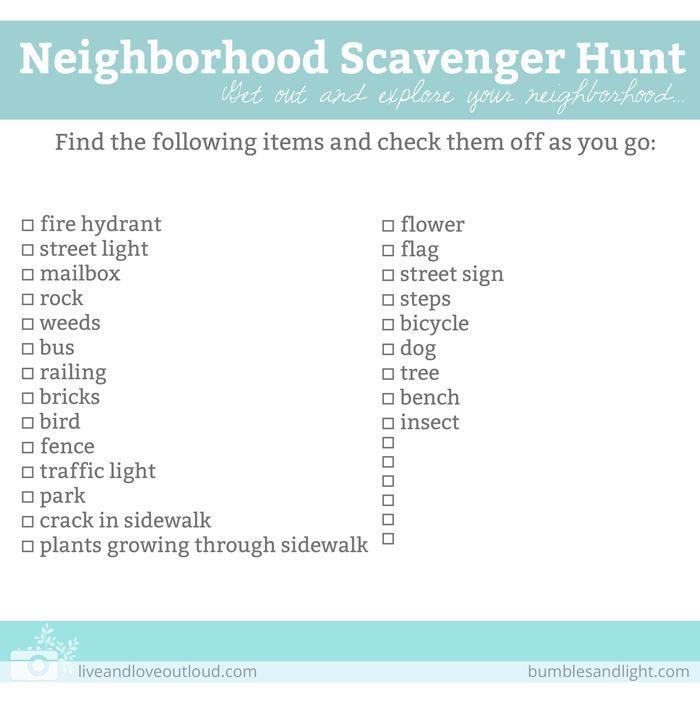 Neighborhood Scavenger Hunt List for Kids