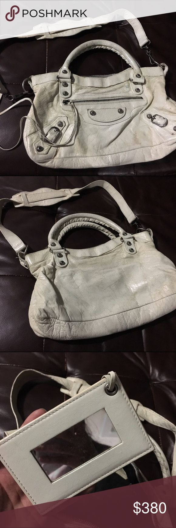Balenciaga City mini Pre-owned, well loved off-white guaranteed 100% authentic Balenciaga City mini bag. Price reflects condition because there are cracks and some discoloration on the leather. Balenciaga Bags Hobos