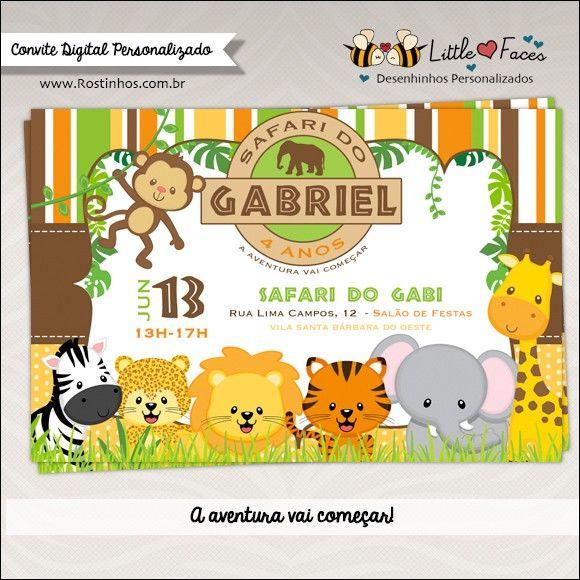 Convite Festa Safari Selva DigitalEmbarque nessa aventura na selva e venha para um safari muito divertido.  O convite festa Safari é todo personalizado e vem prontinho pra vc imprimir!