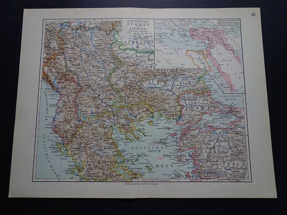 TURKEY antique map of Ottoman Osman empire in Europe in 1913