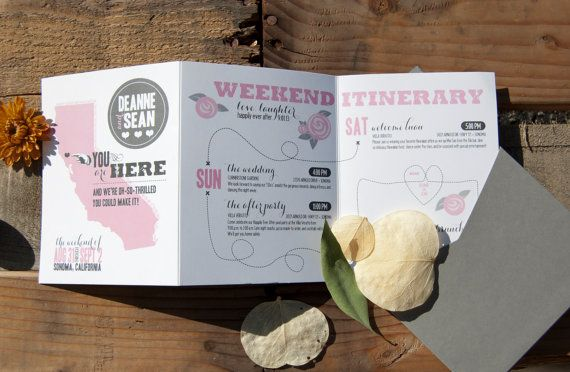 Trifold Weekend Itinerary by SuitePaper on Etsy, $3.50