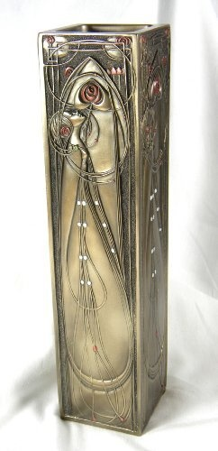 StealStreet 11.5-Inch Tall Look Roses Curvilinear Art Nouveau Vase Pewter by StealStreet,