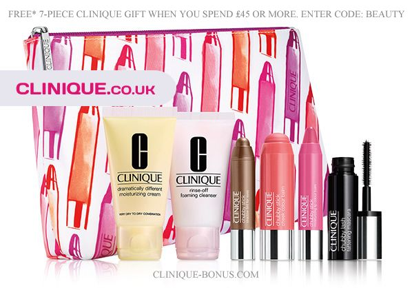 Spend £45 on Clinique UK official website and receive this gift. Spend more (£60) and you will also receive a free makeup remover. http://clinique-bonus.com/united-kingdom/