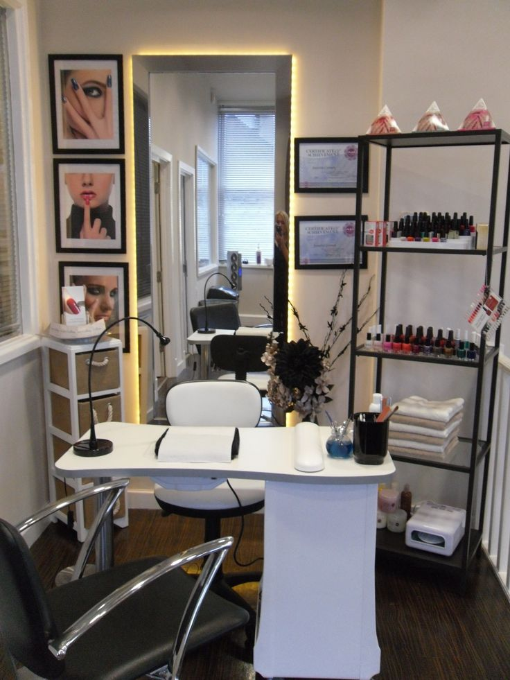 Nail station salon design on a dime pinterest nail for How to make a beauty salon at home