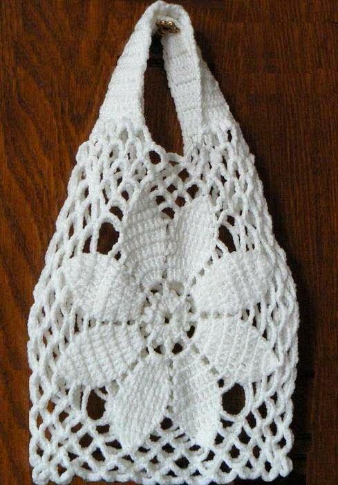 Horgolás minták: Fehér táska-szatyor