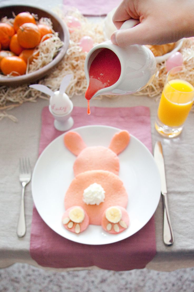 Pink Bunny Pancakes with Strawberry Glaze